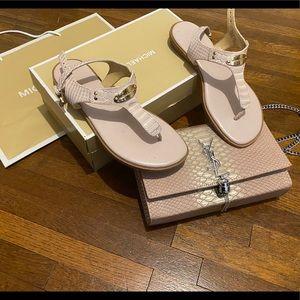 Michael Kors thong pink snake shoes flats 7.5